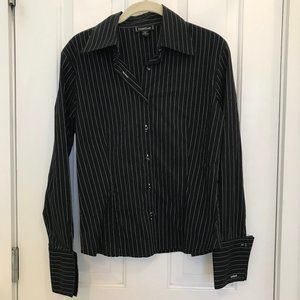 Bebe Pinstripe Fitted Button Down | L